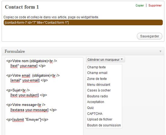 Contact Form 7 par défaut