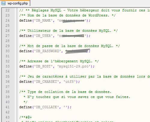 Constantes MySql dans wp-config.php